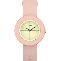 Timex Watch Women's Variety 34MM Leather Strap Gold-Tone/pink/gold-Tone Item # Tw2T93000Vq