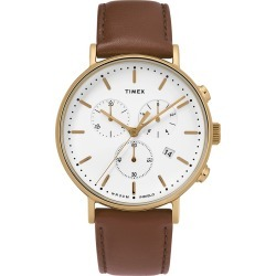 Timex Watch Men's Fairfield Chronograph 41MM Leather Strap Gold-Tone/brown/white Item # Tw2T32300Vq