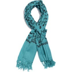 100% Merino Wool Turquoise and Black Colour Paisley and Leaves Embroidered Scarf with Tassels (Size 180X68 Cm) found on Bargain Bro UK from The Jewellery Channel