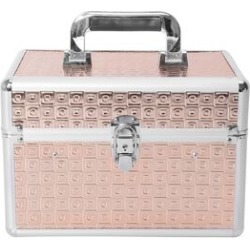 4-Tier Lattice Pattern Jewellery Organiser with 6 Extendable Trays, Lock Clasp and Handle (20x18x8 Cm) - Rose Gold