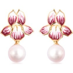 Edison Pearl Enamelled Floral Drop Earrings in Yellow Gold Overlay Sterling Silver found on Bargain Bro UK from The Jewellery Channel