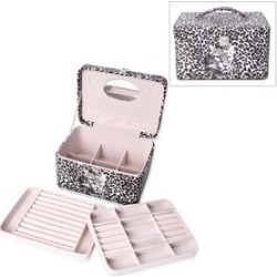 3-Tier Leopard Pattern Jewellery Box with Handle and Inside Mirror (Size 25.8X18.8X14.5 Cm) - White