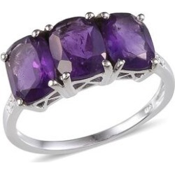 Lusaka Amethyst (Cush) Trilogy Ring in Platinum Overlay Sterling Silver 4.750 Ct. found on Bargain Bro UK from The Jewellery Channel