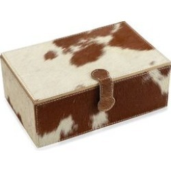 2-Tier Leather Hide Jewellery Box with Magnetic Flap Closure and Velvet Lining (Size 24x14x9 Cm) - Camel and White