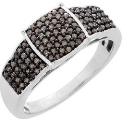 Natural Champagne Diamond (Rnd) Ring in Black Rhodium and Platinum Overlay Sterling Silver 0.500 Ct. found on Bargain Bro UK from The Jewellery Channel