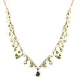 LucyQ Russian Diopside (Rnd), Natural White Cambodian Zircon Necklace (Size 16 with 3.5 inch Extender) in Yellow Gold Overlay Sterling Silver 3.020 Ct, Silver wt 12.53 Gms found on Bargain Bro UK from The Jewellery Channel
