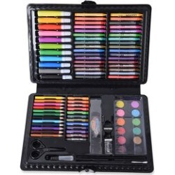KIDDYCOLOR All-in-One Draw, Paint, Colour and Create 109 Piece Set for Kids in Plastic Art Case