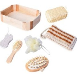 7 Piece Set - Bath Kit in Wooden Box (Included Chenille Back Scrubber, Wooden Hair Brush, Pumice Stone, PE Mesh Ball, Sponge and Massager Brush) - Cream found on Makeup Collection from The Jewellery Channel for GBP 6.47