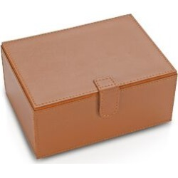 2-Tier Leather Jewellery Box with Magnetic Flap (Size 18x13x9 Cm) - Brown