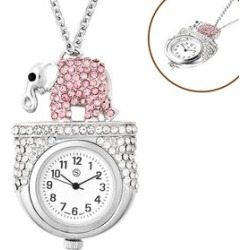 STRADA Japanese Movement Multi Colour Austrian Crystal Studded Water Resistant Elephant Pocket Watch with Chain (Size 29) in Silver Tone found on Bargain Bro UK from The Jewellery Channel
