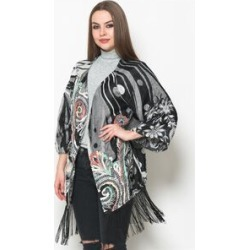 Floral Pattern Black, White and Pink Colour Kimono (Size 65x55 Cm) found on Bargain Bro UK from The Jewellery Channel