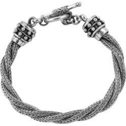 Royal Bali Collection Sterling Silver Tulang Naga Bracelet (Size 7) Toggle Lock, Silver wt 33.8 Gms.