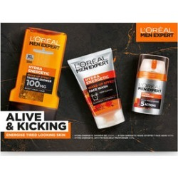 LOreal Men Expert Alive & Kicking Gift Set (Incl. Hydra Energetic Shower Gel - 300ml, Hydra Energetic Wake-Up Effect Face Wash - 100ml & Hydra Energetic Anti-Fatigue Moisturiser - 50ml) found on Makeup Collection from The Jewellery Channel for GBP 20.04