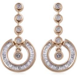 9K Yellow Gold SGL Certified Diamond (Bgt and Rnd) (G-H/I3) Distinctive Pendulum Earrings (with Push Back) 0.50 Ct.