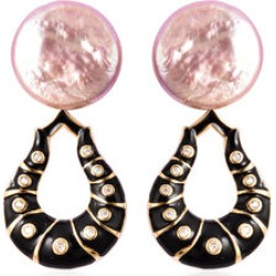 Baroque Pearl and Natural Cambodian Zircon Enamelled Drop Earrings in Yellow Gold Overlay Sterling Silver found on Bargain Bro UK from The Jewellery Channel
