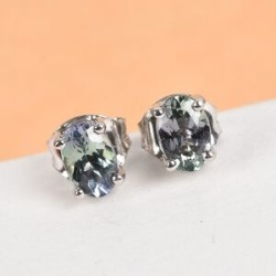 9K White Gold 1 Carat AA Green Tanzanite Oval Solitaire Stud Earrings with Push Back found on Bargain Bro UK from The Jewellery Channel