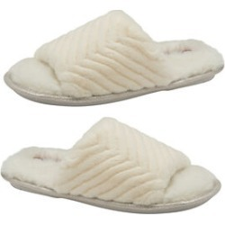 Dunlop Phoebe Ladies Memory Foam Faux Fur Lined Slip On Mule Slippers in Cream Colour found on Bargain Bro UK from The Jewellery Channel