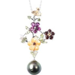 Jardin Collection - Baroque Tahitian Pearl, Yellow Mother Of Pearl and Multi Gemstone Pendant With Chain (Size 18) in Rhodium Overlay Sterling Silver, Silver wt 5.06 Gms