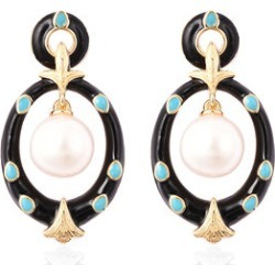 Edison Pearl Dangle Earrings in Yellow Gold Overlay Sterling Silver, Silver wt 6.19 Gms found on Bargain Bro UK from The Jewellery Channel