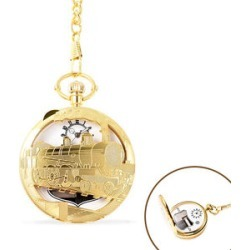 STRADA Japanese Movement Train Pattern Water Resistant Music Pocket Watch with Chain (Size 14) in Yellow Gold Tone found on Bargain Bro UK from The Jewellery Channel