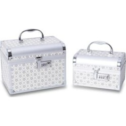 2 Piece Set - Floral Pattern 2-Layer Jewellery Box with Removable Tray, Inside Mirror and Coded Lock (Size 23.5x18x18, 19.5x14x12.5 Cm) - Silver Colour