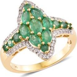 9K Yellow Gold Kagem Zambian Emerald (Ovl), Natural Cambodian Zircon Ring 2.750 Ct. Gold wt 4.75 Gms.