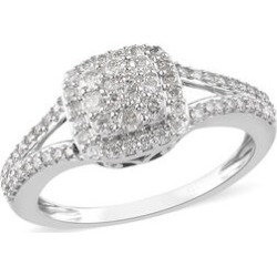 9K White Gold SGL Certifed Diamond (I3/G-H) Cluster Ring 0.50 Ct. found on Bargain Bro UK from The Jewellery Channel