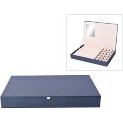 Leatherette Blue Rectangular Jewellery Box with 13 Ring Rows, 24 Sections and Mirror Inside (Size 35x24x4.3 Cm)