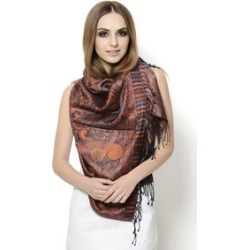 100% Superfine Silk Filigree Pattern Burnt Orange and Multi Colour Jacquard Jamawar Scarf with Fringes (Size 180x65 Cm) (Weight 125-140 Grams) found on Bargain Bro UK from The Jewellery Channel