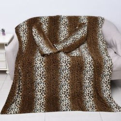 Soft Coral Fleece Leopard Pattern TV Blanket with Sleeves and Pocket (Size 140x180 Cm) - Black, Brown and Off-White Colour found on Bargain Bro UK from The Jewellery Channel