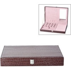 Croc Embossed Jewellery Boxes with Inside Mirror (Size 40x28x5.5 Cm) - Dark Brown Colour