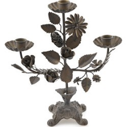 Home Decor - Antique Finish Handcrafted Iron Floral Pattern Multi Candle Stand (Size 27x5x24 Cm) found on Bargain Bro UK from The Jewellery Channel