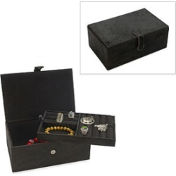 2-Tier Leather Hide Jewellery Box with Magnetic Flap Closure and Velvet Lining (Size 24x14x9 Cm) - Black