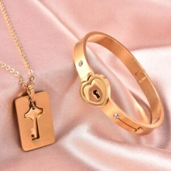 Set of 3 - White Austrain Crystal Heart Lock Bangle (Size 7.5) and Key Design Pendant with Chain (Size 24) in Yellow Gold Plated Stainless Steel found on Bargain Bro UK from The Jewellery Channel