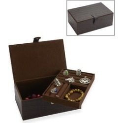 2-Tier Croc Embossed Leather Jewellery Box with Magnetic Flap Closure (Size 25x14.5x9 Cm) - Dark Plum