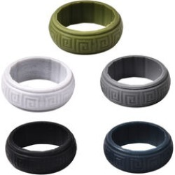 MP Set of 5 - Silver, Dark Grey, Dark Blue, Black and Olive Colour Band Rings (Size P)