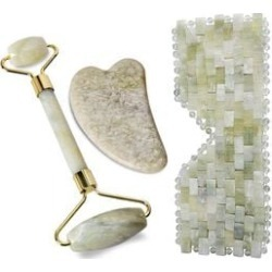 3 Piece Set - Jade Skin Care Tools (Include Facial Roller, Gua Sha and Eye Mask) found on Makeup Collection from The Jewellery Channel for GBP 57.65
