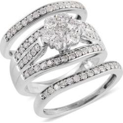 NY Close Out Deal-Set of 3 14K White Gold Diamond (Rnd) (I1/G-H) 3 Ring Set 1.502 Ct, Gold wt 10.40 Gms.