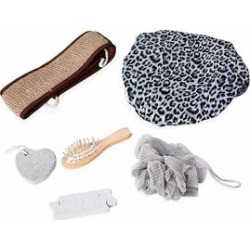 7 Piece Set - Bath Accessory Kit in Black Gift Box (Included Leopard Bath Cap, PE Mesh Ball, Pumice Stone, Wooden Hair Brush, Chenille Back Scrubber and Finger Separator) - Grey, Brown and Black found on Makeup Collection from The Jewellery Channel for GBP 6.47