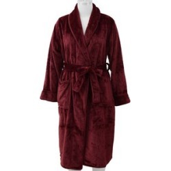 Microfibre Soft Flannel Shawl Collar Dressing Gown with Pocket (Size 65x115 Cm) - Wine Red found on Bargain Bro UK from The Jewellery Channel
