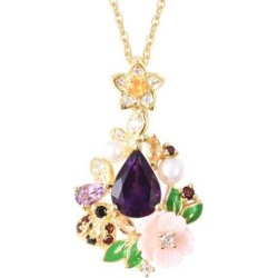 Jardin Collection- Amethyst, Pink Mother of Pearl and Multi Gemstone Pendant With Chain (Size 18) in Yellow Overlay Sterling Silver, Silver Wt. 5.64 Gms
