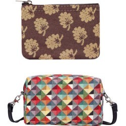 Signare Tapestry - Party Bag in Multi Coloured Triangle Design (20 x 12 x 9.5 cms) with Free Zip Coin Purse