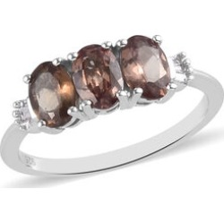 Colour Change Garnet and Diamond 3-Stone Ring in Platinum Overlay Sterling Silver 1.50 Ct. found on Bargain Bro UK from The Jewellery Channel