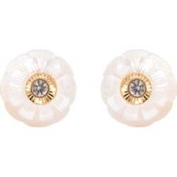 Galatea Pearl - Star in a Pearl- Carved Freshwater White Pearl and Natural Cambodian Zircon Stud Earrings (with Push Back) in Yellow Gold Overlay Sterling Silver found on Bargain Bro UK from The Jewellery Channel