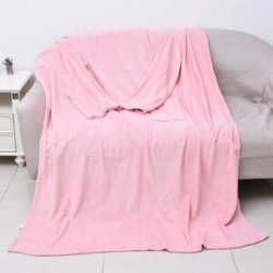 Soft Coral Fleece TV Blanket with Sleeves and Pocket (Size 140x180 Cm) - Baby Pink Colour found on Bargain Bro UK from The Jewellery Channel
