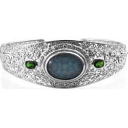 Australian Boulder Opal (Ovl 20x15 mm), Russian Diopside Bangle (Size 7.5) in Platinum Overlay Sterling Silver, Silver wt 31.60 Gms found on Bargain Bro UK from The Jewellery Channel