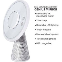 3-in-1 Lighted Makeup Mirror with Bluetooth Speaker, Removable Magnifying Mirror and Table Lamp in 3 Colour LED Lights - White found on Makeup Collection from The Jewellery Channel for GBP 60.28