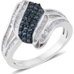 Blue Diamond (Rnd), White Diamond Ring in Platinum Overlay Sterling Silver 0.750 Ct. found on Bargain Bro UK from The Jewellery Channel