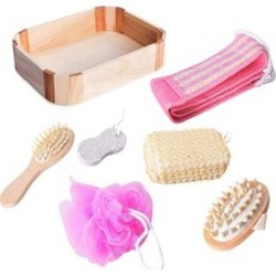 7 Piece Set - Bath Kit in Wooden Box (Included Chenille Back Scrubber, Wooden Hair Brush, Pumice Stone, PE Mesh Ball, Sponge and Massager Brush) - Pink and Cream found on Makeup Collection from The Jewellery Channel for GBP 6.53
