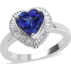 RHAPSODY 1.75 Ct AAAA Tanzanite and Diamond VS EF Heart Halo Ring in 950 Platinum 7 grams